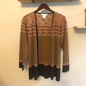 Exclusively Misook Striped Open Front Cardigan XS